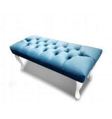 Banc, bout de lit  capitonné bleu  80x40x40 cm