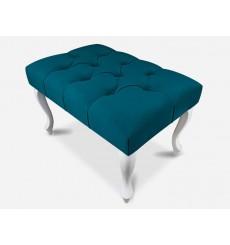 Banc, bout de lit capitonné bleu canard 60x40x40 cm