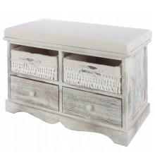 Banc, bout de lit en bois massif  avec 2 rangements et 2 tiroirs 62x43x32,5 cm