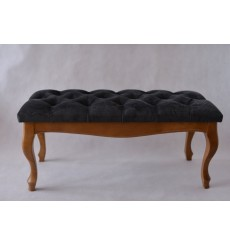 Banc, bout de lit  capitonné noir 90x43x40 cm