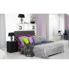 Lit double avec tête de lit matelassée 160x200 cm gris