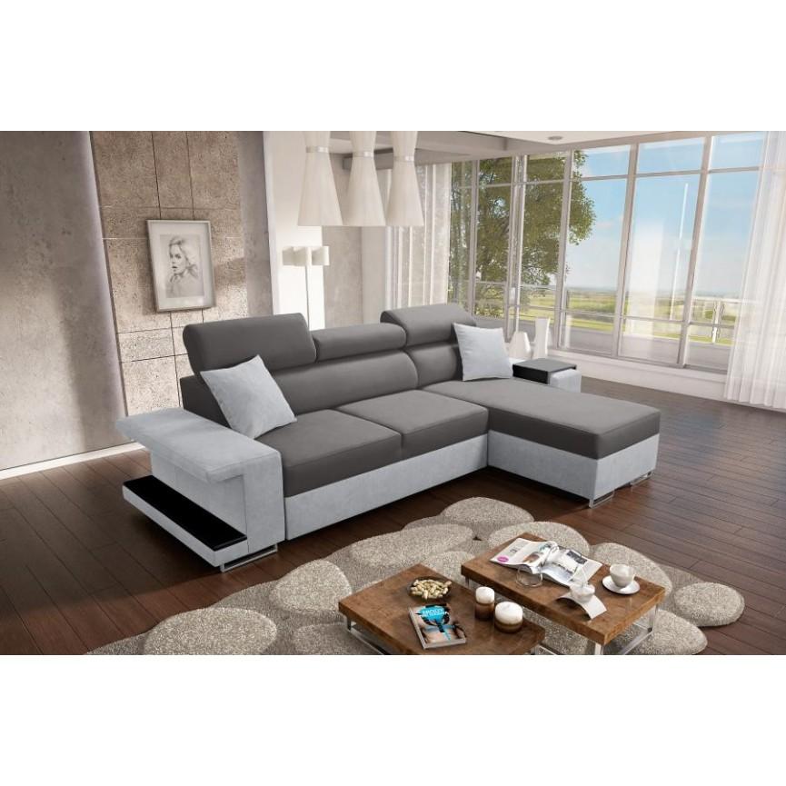 Canapé-lit VICTOR 256x184 cm anthracite et gris
