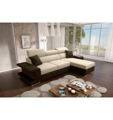Canapé-lit VICTOR 256x184 cm beige et marron