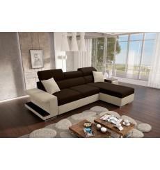 Canapé-lit VICTOR 256x184 cm marron et beige