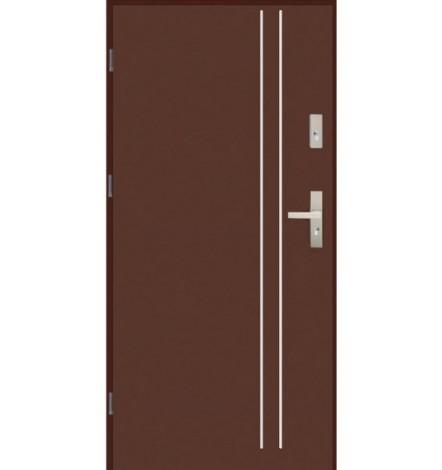 Porte d'entrée 90 cm en Alluminium marron