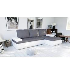Canapé-lit réversible SANTI  235x140 cm blanc et gris angle droit