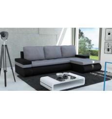 Canapé-lit réversible SANTI 235x140 cm gris et noir angle droit