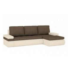 Canapé-lit réversible SANTI 235x140 cm beige et brun angle droit