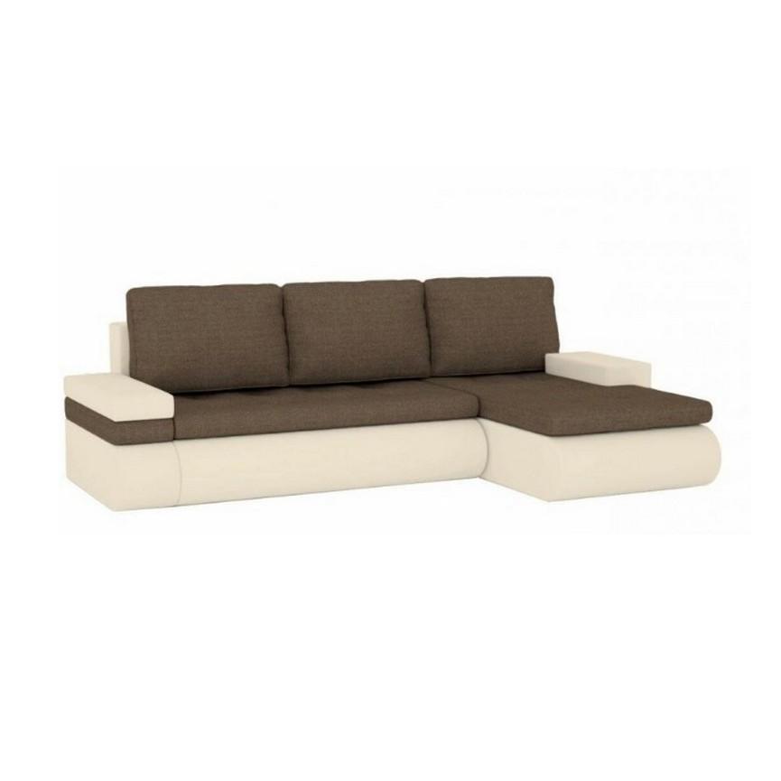 Canapé d'angle convertible SANTI 235x140 cm beige et brun angle droit
