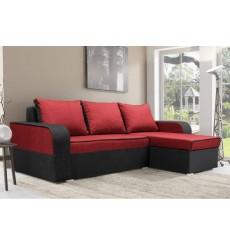 Canapé-lit réversible LIMA 230x140 cm rouge et noir