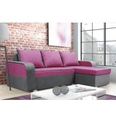 Canapé-lit réversible LIMA 230x140 cm rose et gris