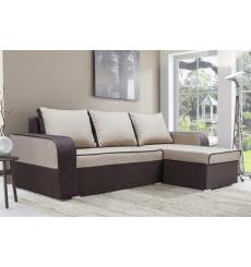 Canapé-lit réversible LIMA 230x140 cm beige et marron