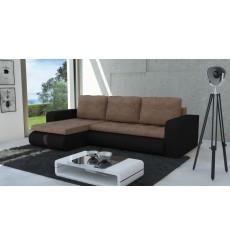 Canapé d'angle convertible HARVEY marron et cacao 246x150 cm