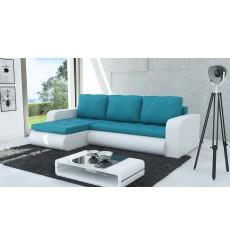 Canapé d'angle convertible HARVEY blanc et bleu 246x150 cm
