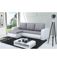 Canapé d'angle convertible HARVEY blanc et gris 246x150 cm