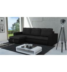 Canapé d'angle convertible HARVEY noir 246x150 cm