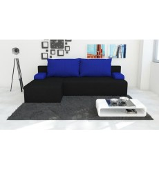 Canapé d'angle convertible réversible ZION noir 140x200 cm
