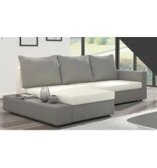 Canapé d'angle convertible réversible CARLY gris et blanc 241x140 cm