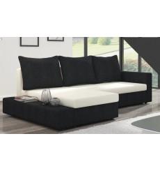 Canapé d'angle convertible réversible CARLY noir et blanc 241x140 cm