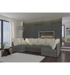 Canapé-lit Réversible MOBY 286x140 cm gris et blanc
