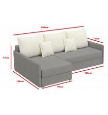 Canapé-lit Réversible ACADIA 208x140 cm en blanc cassé