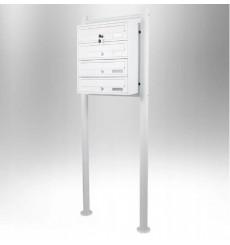 Boîtes aux lettres collectives pour 4 sur pieds en blanc
