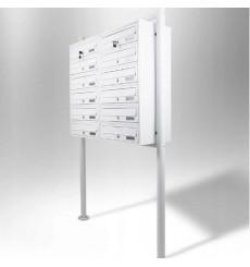 Boîtes aux lettres collectives 6x2 sur pieds en blanc