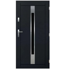 Porte d'entrée WORAKLS V 90 cm en acier inoxydable anthracite