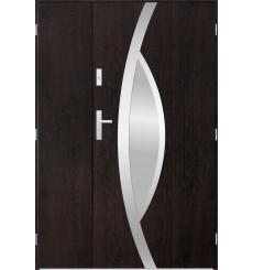 Porte d'entrée double PEGAS 90x40 cm wengé