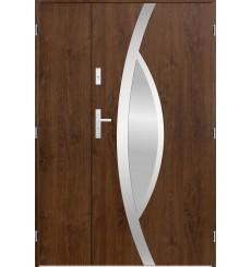 Porte d'entrée double PEGAS 90x40 cm noyer