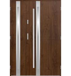 Porte d'entrée double GALILÉE 90x40 cm noyer
