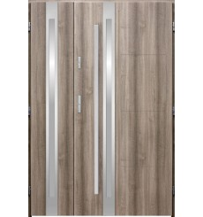 Porte d'entrée double GALILÉE 80x40 cm chêne blanchi