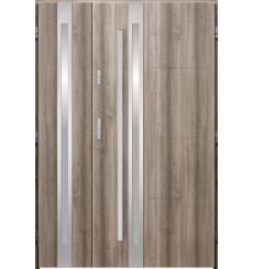 Porte d'entrée double GALILÉE 90x40 cm chêne blanchi