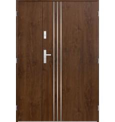 Porte d'entrée double GAMO 90x40 cm noyer