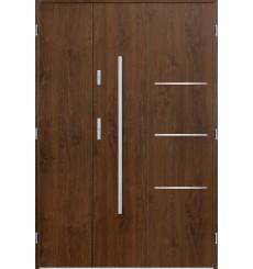 Porte d'entrée double PIRAS 90x40 cm noyer