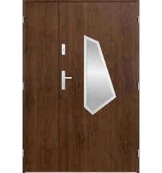 Porte d'entrée double DIZAR 90x40 cm noyer