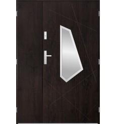 Porte d'entrée double DIZAR 80x40 cm wengé
