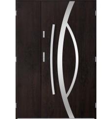 Porte d'entrée double CASTOR 80x40 cm wengé