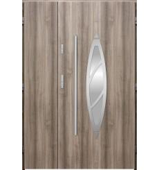 Porte d'entrée double BELIAR 90x40 cm chêne blanchi