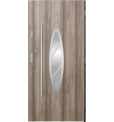 Porte d'entrée simple BELIAR 90 cm chêne blanchi