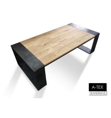 Table basse  en chêne massif A-TEX RUST COFEEE 140 cm