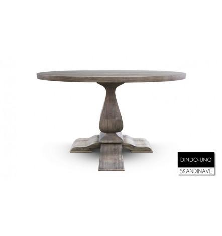 Table à manger ronde en chêne massif DINDO-UNO
