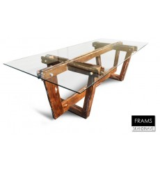 Table à manger en verre pieds en chêne massif FRAMS, 255 cm