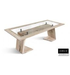 Table à manger en chêne massif et verre trempé ZORG-W, 230 cm