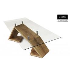 Table à manger en chêne massif et verre trempé ZORG, 255 cm