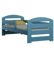 Lit simple en bois Camille bleu 80x180 cm