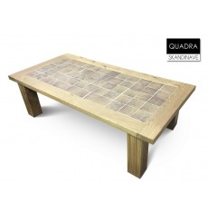 Table basse en chêne massif QUADRA-GREY 120 cm
