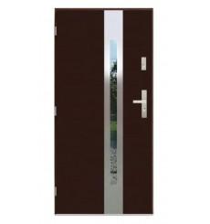 Porte d'entrée 90 cm en acier inoxydable brun