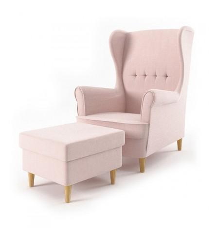 Fauteuil bergère Maxwell rose pâle avec repose pieds